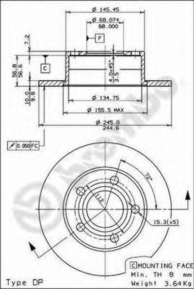 BREMBO 08574311 Тормозной диск
