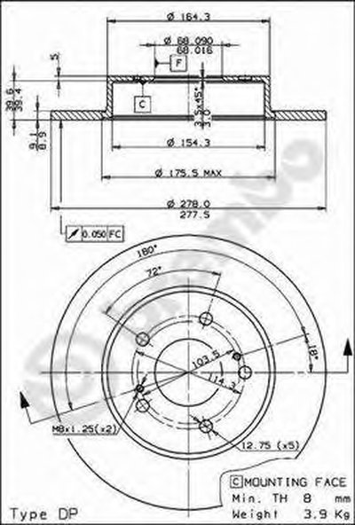 BREMBO 08806514 Тормозной диск
