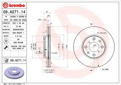 BREMBO 09A27114 Тормозной диск вентилируемый