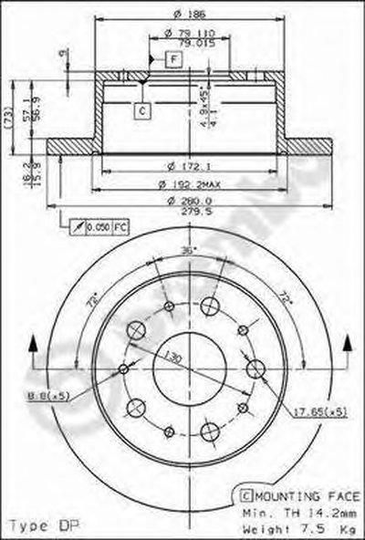 08809440 BREMBO Тормозной диск
