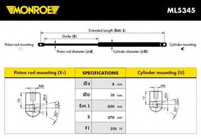 ML5345 MONROE Газовая пружина, капот