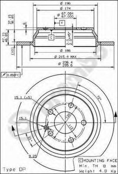 BREMBO 08840510 Тормозной диск