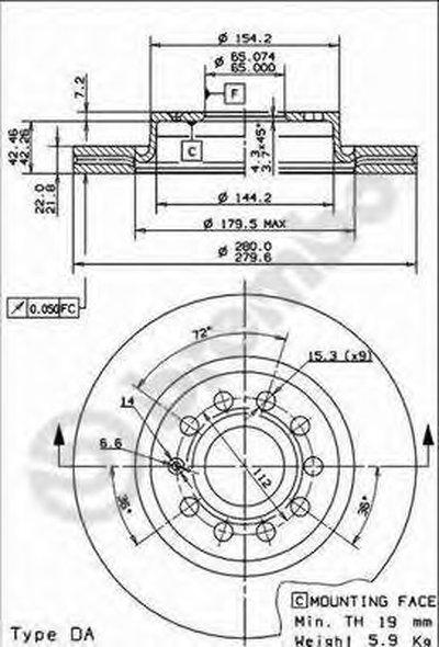 09916711 BREMBO Тормозной диск