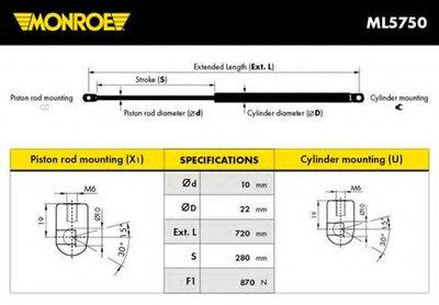 Амортизатор багажника MONROE MONROE ML5750 для авто VW с доставкой