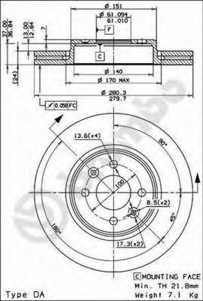 BREMBO 09813724 Тормозной диск