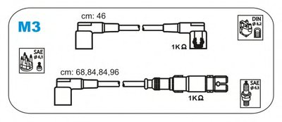 К-кт проводів DB 2,3/1,8/2,0 JANMOR M3 для авто MERCEDES-BENZ, PUCH с доставкой