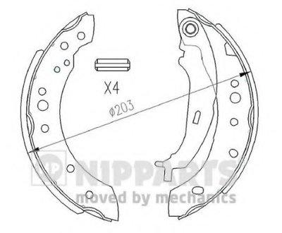 N3505043 NIPPARTS Комплект тормозных колодок