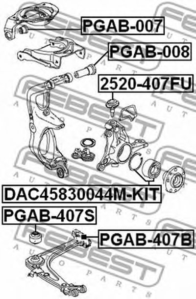 PGAB407B FEBEST Подвеска, рычаг независимой подвески колеса