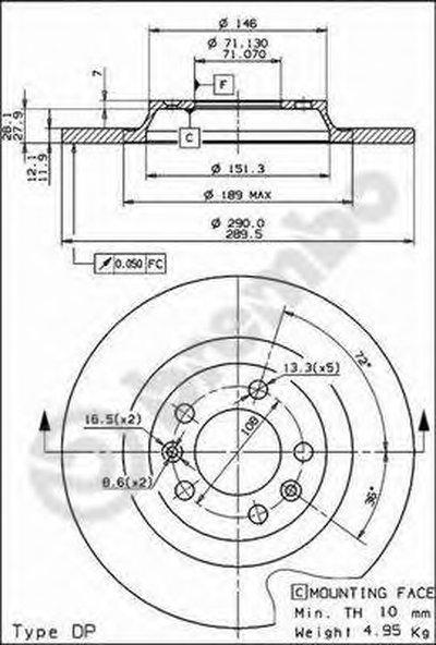 BREMBO 08868210 Тормозной диск