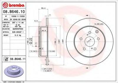 08B64611 BREMBO Тормозной диск