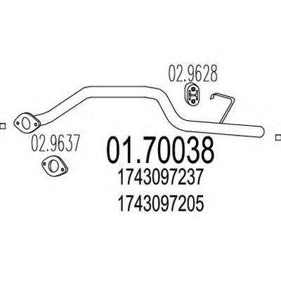 0170038 MTS Труба выхлопной системы, задняя часть