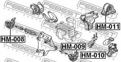 Подушка двигателя лев. FEBEST HM009-1
