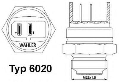 602095D WAHLER Термовыключатель, вентилятор радиатора; Термовыключатель, вентилятор радиатора