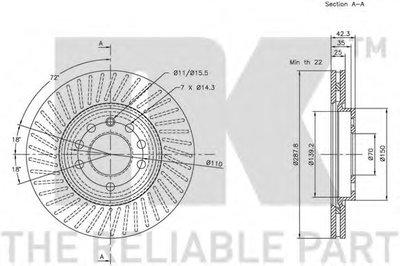 Диск Тормозной Перзад. Вент.nk NK 203625 для авто CHEVROLET, LOTUS, OPEL, SAAB с доставкой-2