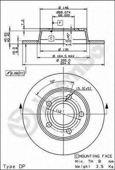08908411 BREMBO Тормозной диск