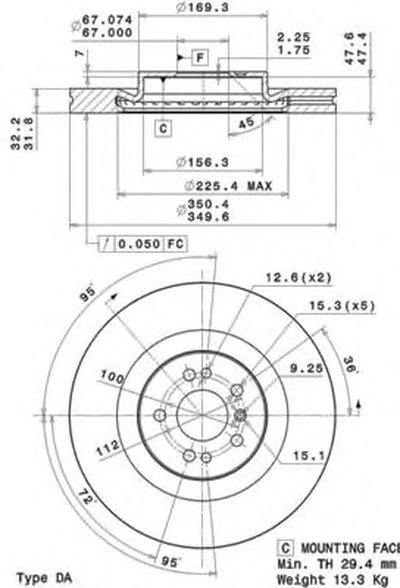 BREMBO 09R10311 Тормозной диск