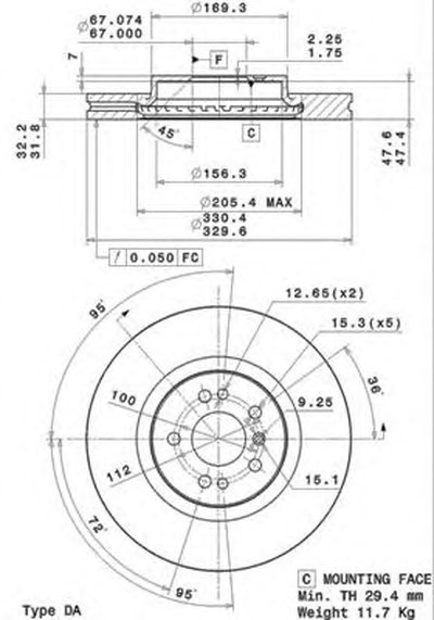 BREMBO 09R10411 Тормозной диск вентилируемый