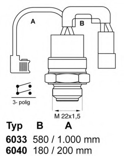 603388 WAHLER Термовыключатель, вентилятор радиатора