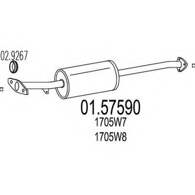 0157590 MTS Средняя часть выхлопной системы (Резонатор)