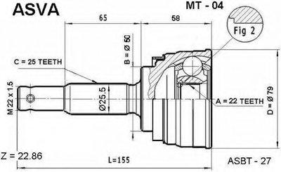ШРУС НАРУЖНЫЙ 22x50x25 (MITSUBISHI LANCER/COLT C51A-C77A 1988-1995)