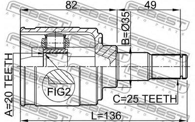 Шрус Внутренний 20X35X25 FEBEST 2211PICMT для авто KIA с доставкой-1