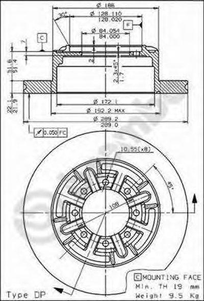 BREMBO 08595210 Тормозной диск
