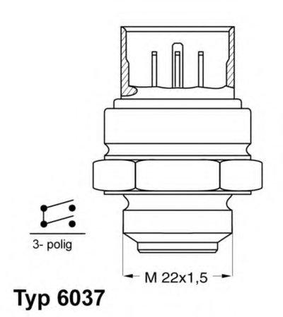 603781D WAHLER Термовыключатель, вентилятор радиатора; Термовыключатель, вентилятор радиатора
