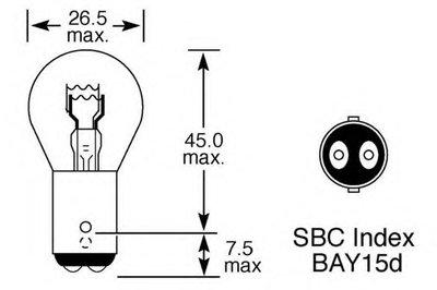 Лампа накаливания, фонарь указателя поворота; Лампа накаливания, фонарь сигнала торможения; Лампа накаливания, задняя противотуманная фара; Лампа накаливания, задний гарабитный огонь; Лампа накаливания, стояночный / габаритный огонь; Лампа накаливания, дополнительный фонарь сигнала торможения LUCAS ELECTRICAL купить