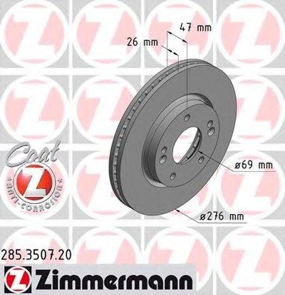 Гальмiвнi диски ZIMMERMANN 285350720 для авто HYUNDAI с доставкой