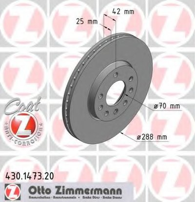 Тормозной Диск ZIMMERMANN 430147320 для авто OPEL, SAAB с доставкой