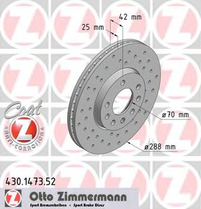 Тормозной диск ZIMMERMANN 430147352 для авто OPEL, SAAB с доставкой