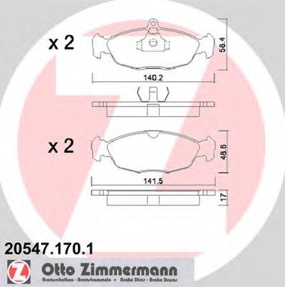 Колодки Тормозные Передние ZIMMERMANN 205471701 для авто DAEWOO, OPEL с доставкой