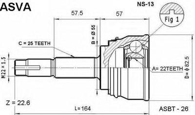 ШРУС НАРУЖНЫЙ 22x55x25 (NISSAN SUNNY B14/ALMERA N15 1995-2000)