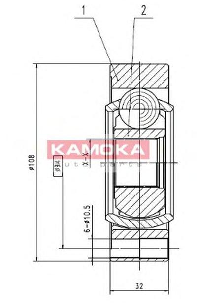 9196 KAMOKA Шарнирный комплект, приводной вал