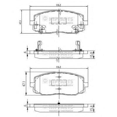 J3600323_Колодки Дисковые Передние! Kia Picanto 1.01.1D 04 NIPPARTS J3600323 для авто HYUNDAI, KIA с доставкой
