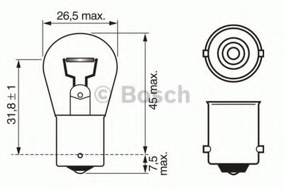 Лампа накаливания, фонарь указателя поворота; Лампа накаливания, фонарь сигнала торможения; Лампа накаливания, задняя противотуманная фара; Лампа накаливания, фара заднего хода; Лампа накаливания, задний гарабитный огонь; Лампа накаливания, oсвещение салона; Лампа накаливания, дополнительный фонарь сигнала торможения; Лампа, противотуманные . задни BOSCH купить