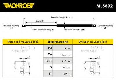ML5892 MONROE Газовая пружина, крышка багажник