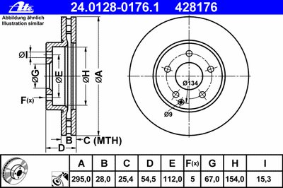 Диск тормозной передн, MERCEDES-BENZ: E-CLASS E 200 CDI/E 200 CDI/E 200 Kompressor/E 200 Kompressor/E 200 NGT/E 220 CDI/E 220 CDI/E 220 CDI/E 230/E 24 ATE 24012801761 для авто MERCEDES-BENZ с доставкой