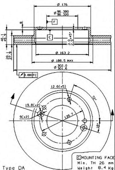 BREMBO 09954510 Тормозной диск