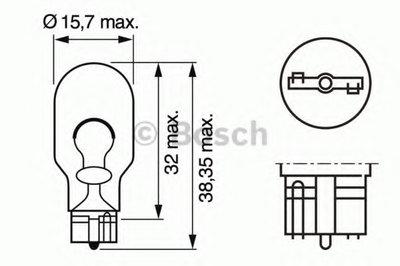 Лампа накаливания, фонарь указателя поворота; Лампа накаливания, фонарь сигнала торможения; Лампа накаливания, задняя противотуманная фара; Лампа накаливания, фара заднего хода; Лампа накаливания, задний гарабитный огонь; Лампа накаливания, дополнительный фонарь сигнала торможения BOSCH купить