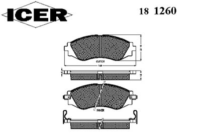 Колодки тормозные ICER 181260