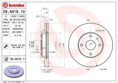 BREMBO 09A91810 Тормозной диск