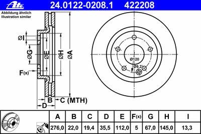Автозапчасть/Диск тормозной ATE 24012202081 для авто MERCEDES-BENZ с доставкой