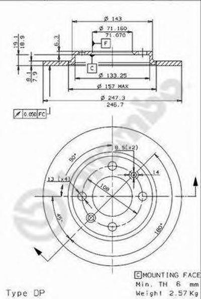 08960210 BREMBO Тормозной диск
