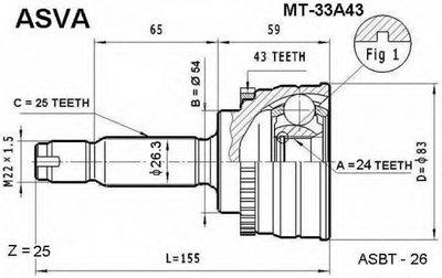 ШРУС НАРУЖНЫЙ 24x54x25 (MITSUBISHI GALANT EA 1996-2003)