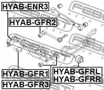 Сайлентблок задней поперечной тяги HYUNDAI SONATA YF 2010-2014 FEBEST HYABGFR1-1