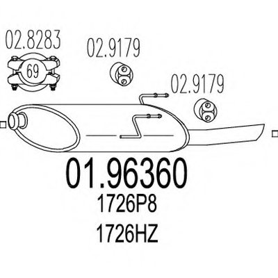 0196360 MTS Задняя часть выхлопной системы (Глушитель).