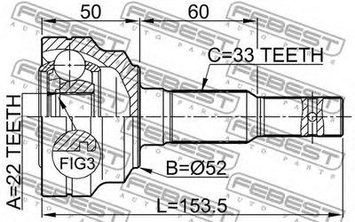 Шрус Наружный 22X52X33 FEBEST 1810002 для авто  с доставкой-1