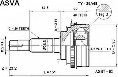 ШРУС НАРУЖНЫЙ 24X56X26 (TOYOTA CALDINA ST215/CT216 4WD 1997-2002)
