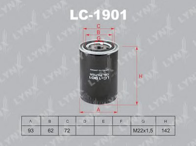 LC1901 LYNXAUTO Масляный фильтр